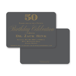 Weezie B. Designs | Classic Gray & Gold Birthday Invitation