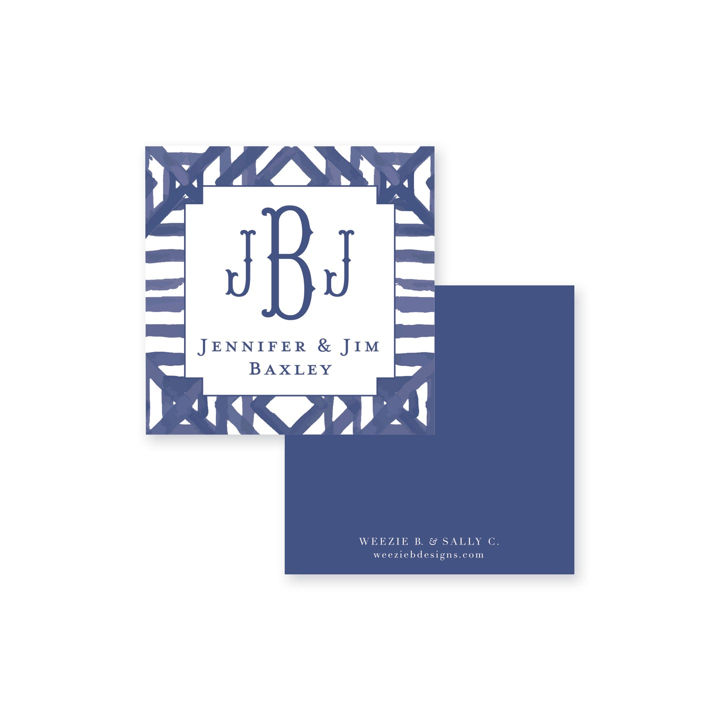 Dark Blue Watercolor Bamboo Calling Card