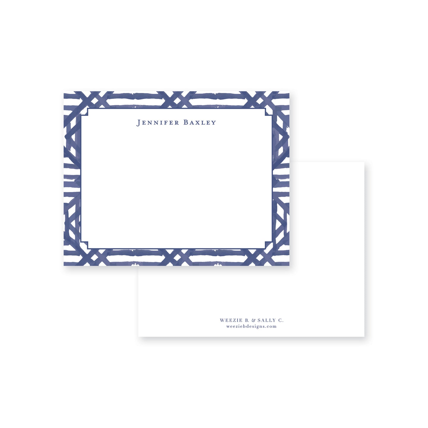 Dark Blue Watercolor Bamboo Flat Note Card