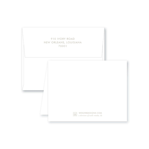 Weezie B. Designs | Dot Line Border With Name Folded Note Cards