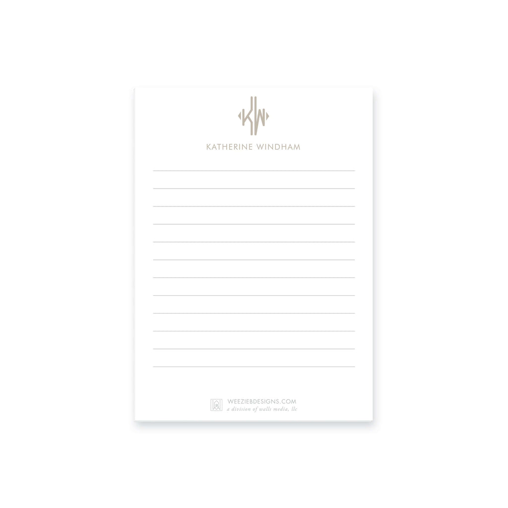 Weezie B. Designs | Dot Line Border With Name Notepads