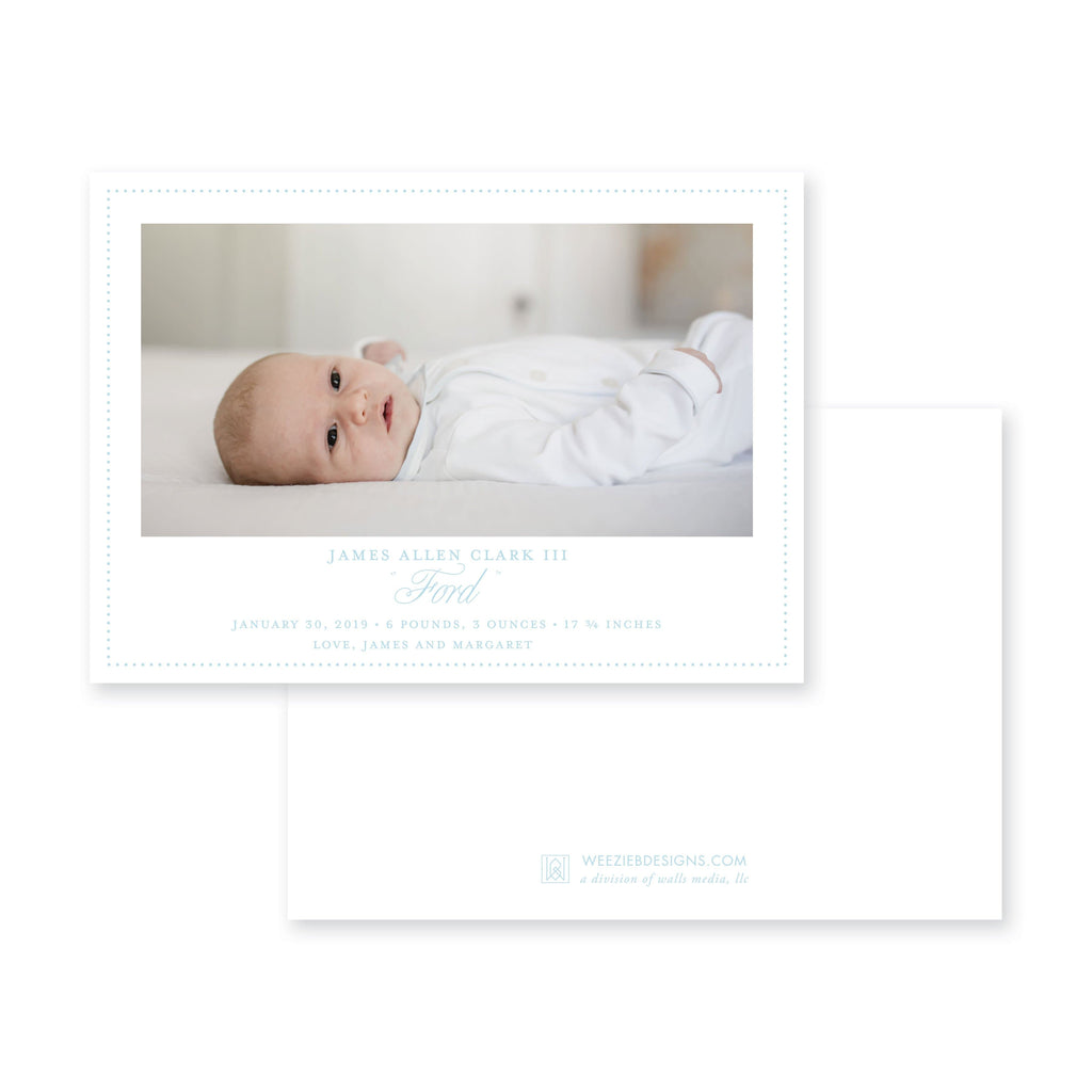 Weezie B. Designs | Elegant Birth Announcement