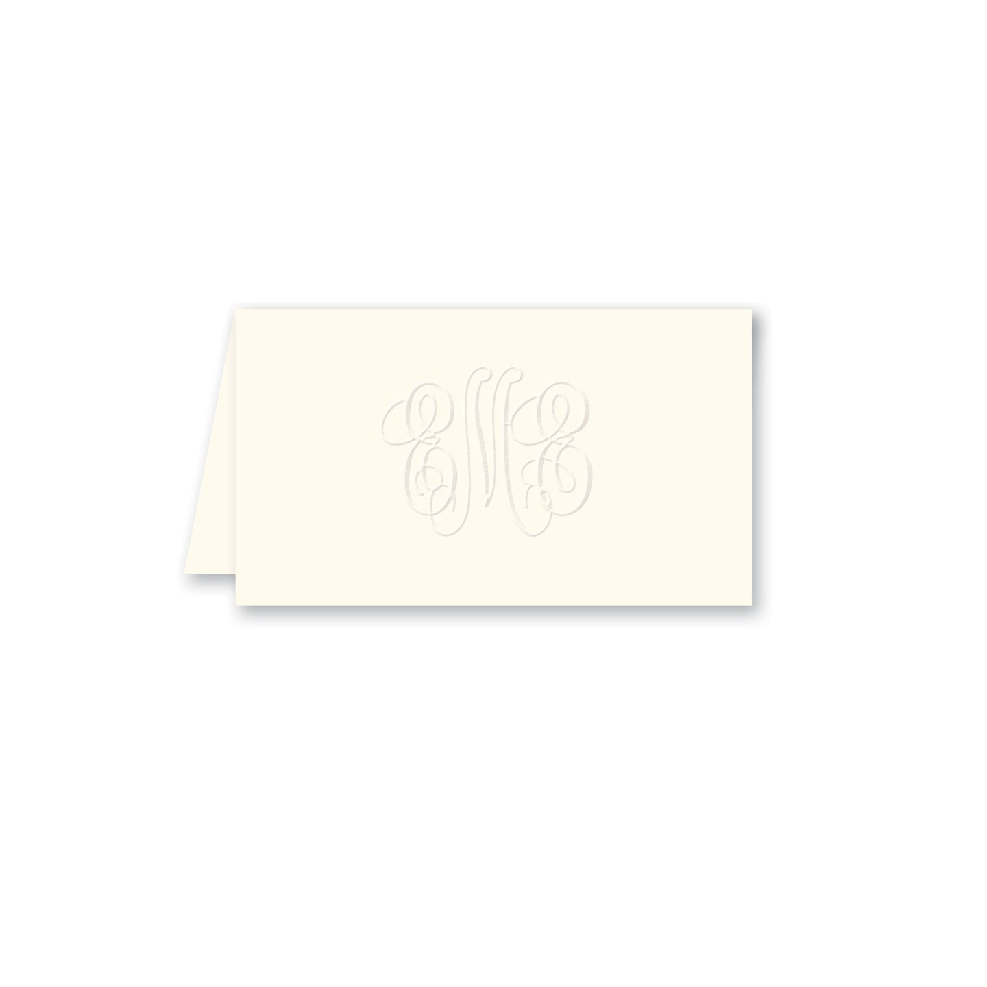 Embossed Three Letter Intertwined Monogram Enclosure Card