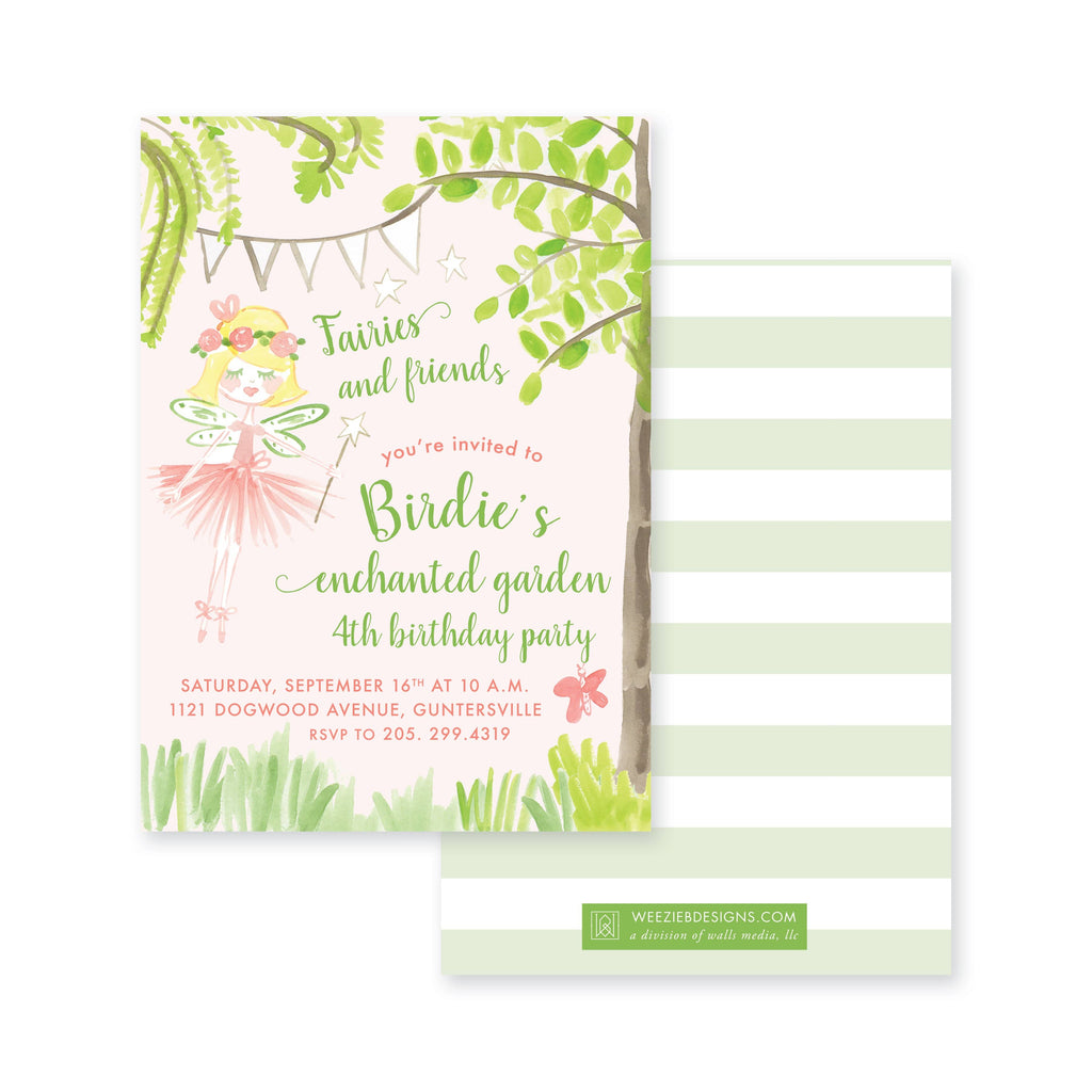 Weezie B. Designs | Enchanted Fairy Garden Girls Birthday Invitation