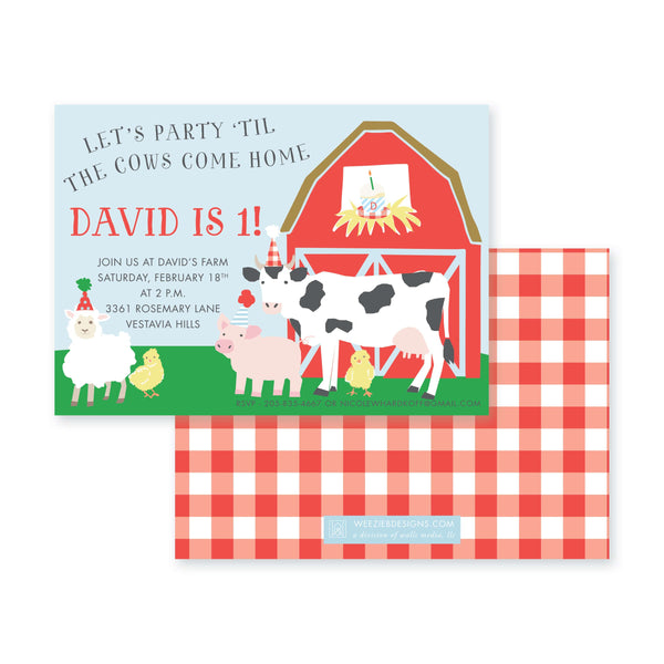 Weezie B. Designs | Party 'til the Cows Come Home Birthday Invitation