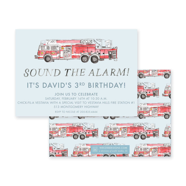 Weezie B. Designs | Sound the Alarm Birthday Invitation