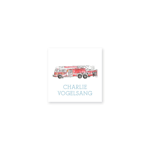 Fire Truck Watercolor Vinyl Stickers