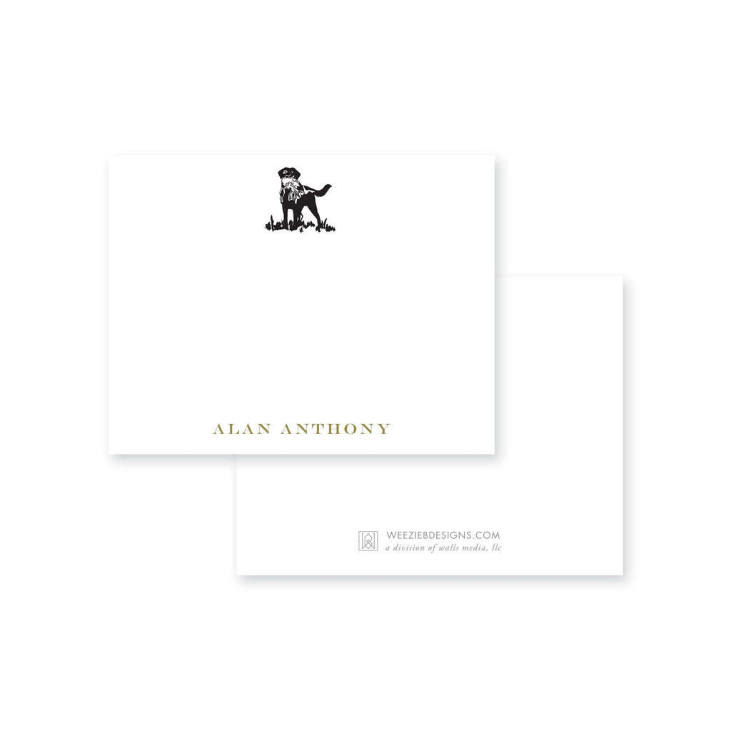 Weezie B. Designs | Sketched Dog with Bird Personalized Flat Note Card