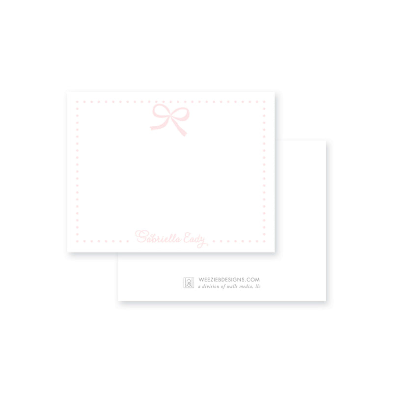 Weezie B. Designs | Sweet Pink Bow Flat Note Card