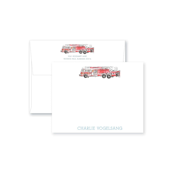 Weezie B. Designs | Watercolor Firetruck Personalized Flat Note Card