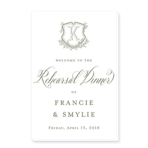 Floral Crest & Monogram Welcome Sign
