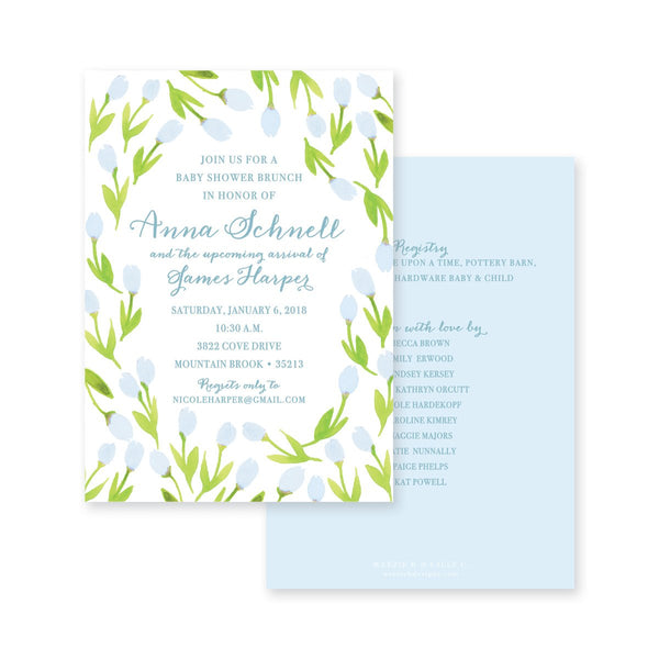 Weezie B. Designs | Garden of Tulips Baby Shower Invitation