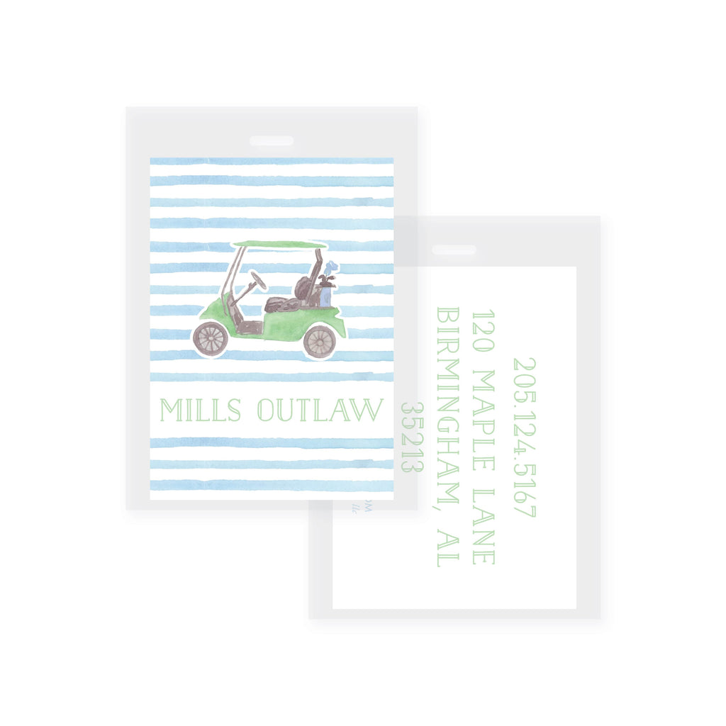 Weezie B. Designs | Watercolor Golf Cart Bag Tag