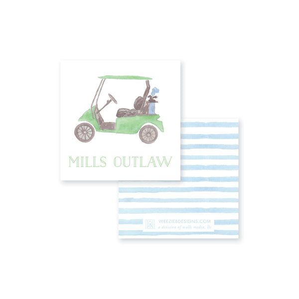 Weezie B. Designs | Watercolor Golf Cart Calling Card