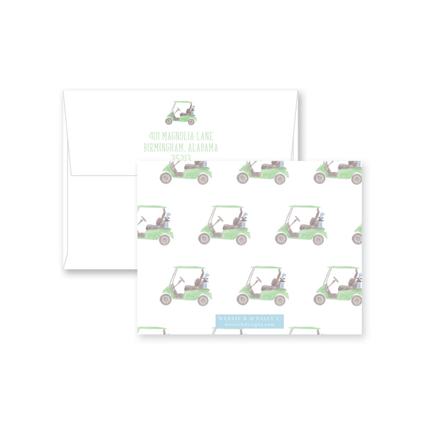 Watercolor Golf Cart Fill-In Flat Note Card
