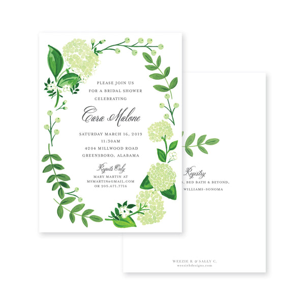 Weezie B. Designs | Hydrangea Garden Florals Bridal Shower Invitation