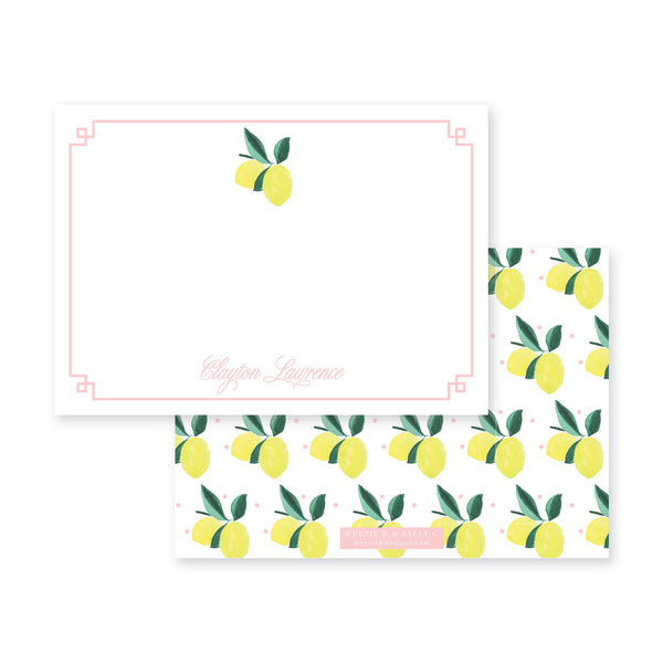 Lemon Polka Flat Note Card