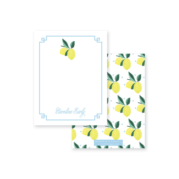 Lemon Polka Dot Flat Note Card