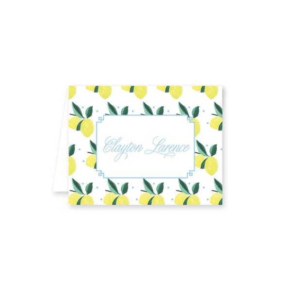 Lemon Polka Dot Folded Note Card