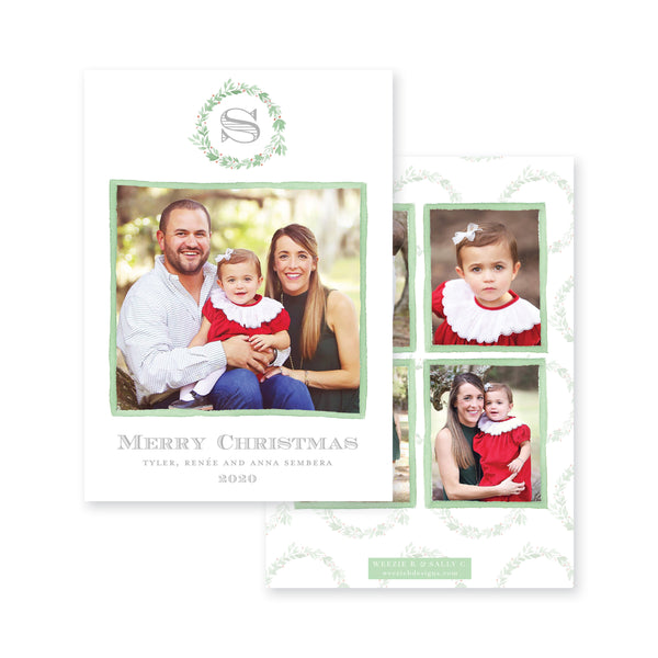 Mistletoe Wreath Monogram Christmas Card