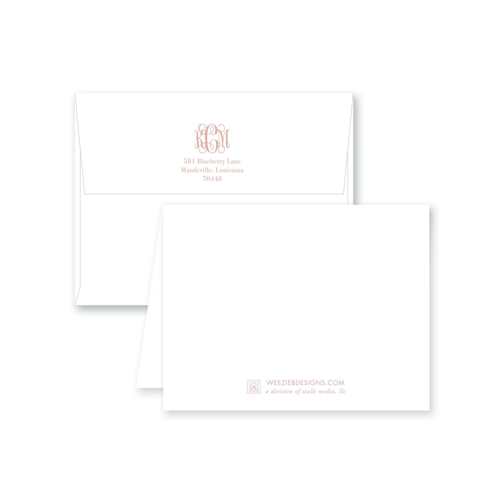 Weezie B. Designs | Greek Key Border Monogram Folded Note Cards