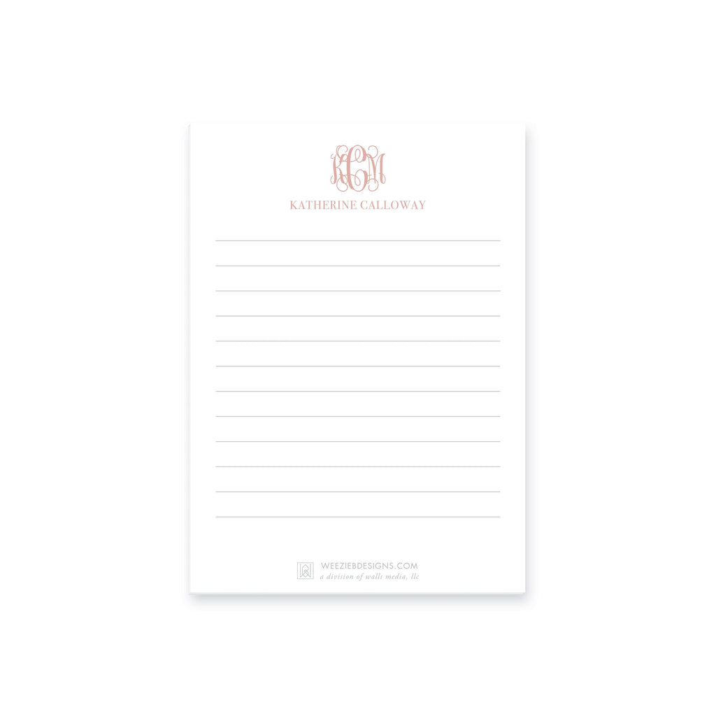 Weezie B. Designs | Greek Key Border Monogram Notepads