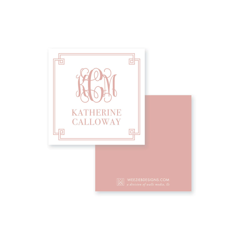 Weezie B. Designs | Greek Key Border Monogram Calling Card