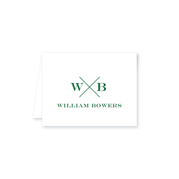 Weezie B. Designs | Block X with Name and Monogram Folded Note Cards