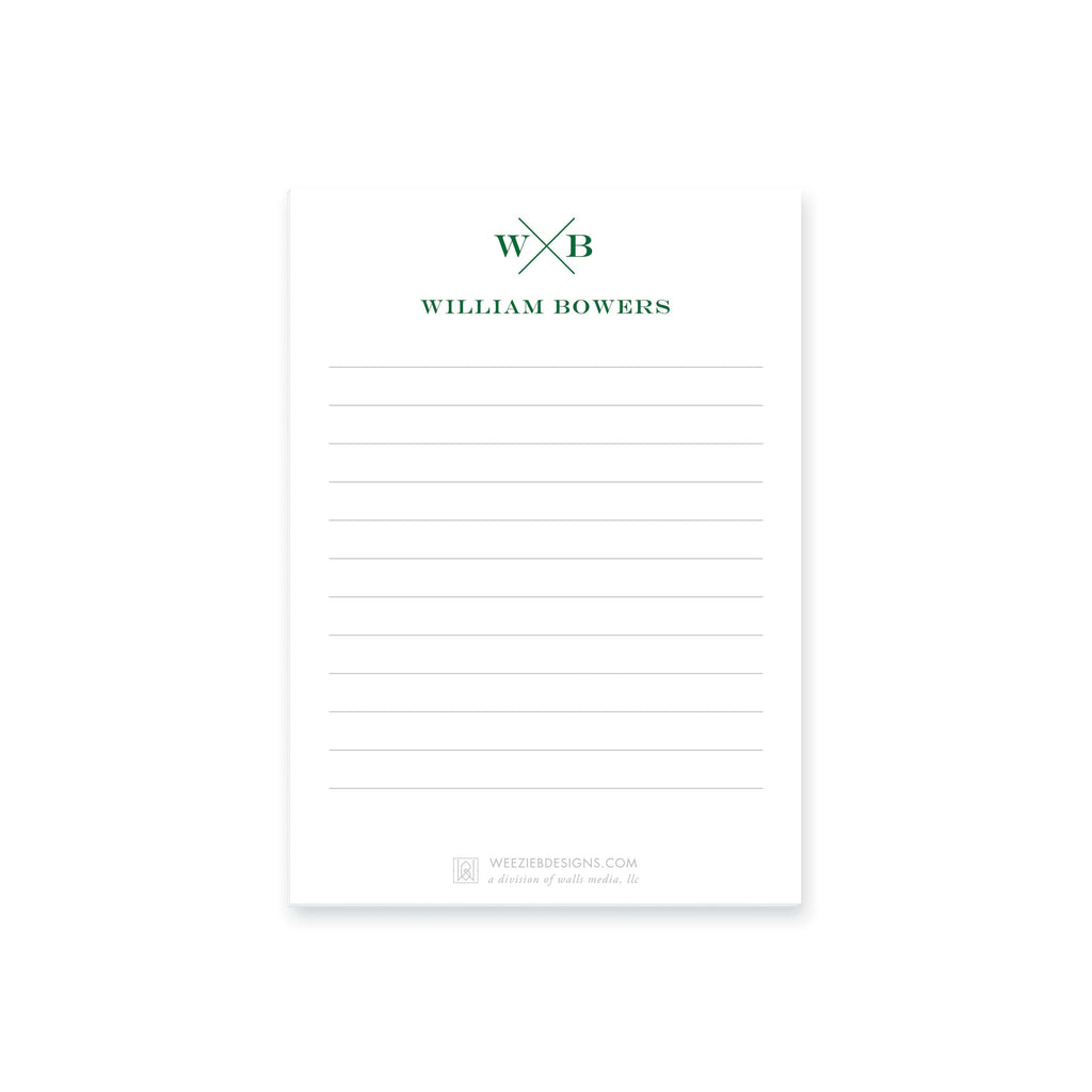 Weezie B. Designs | Block X With Name and Monogram Notepads