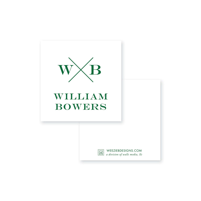 Weezie B. Designs | Block X with Monogram And Name Calling Card