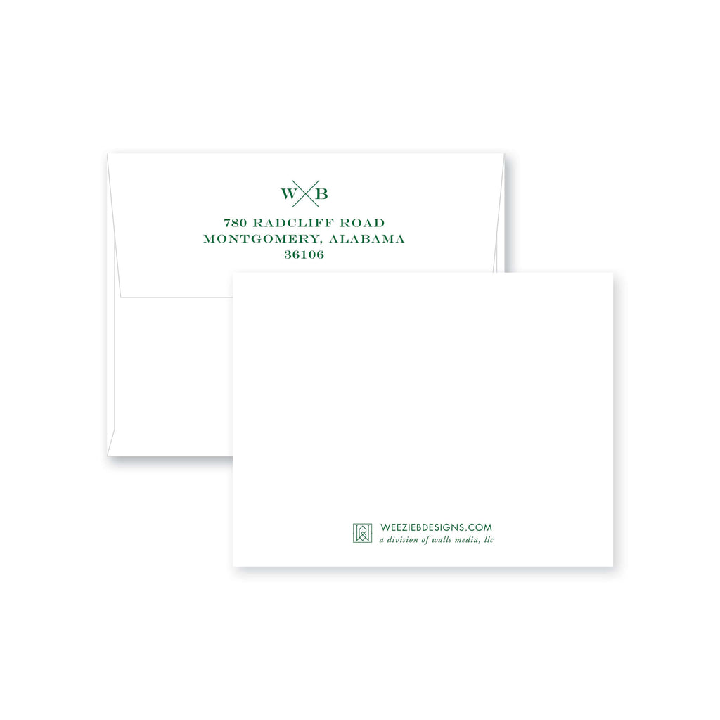 Weezie B. Designs | Block X Monogram Flat Note Card
