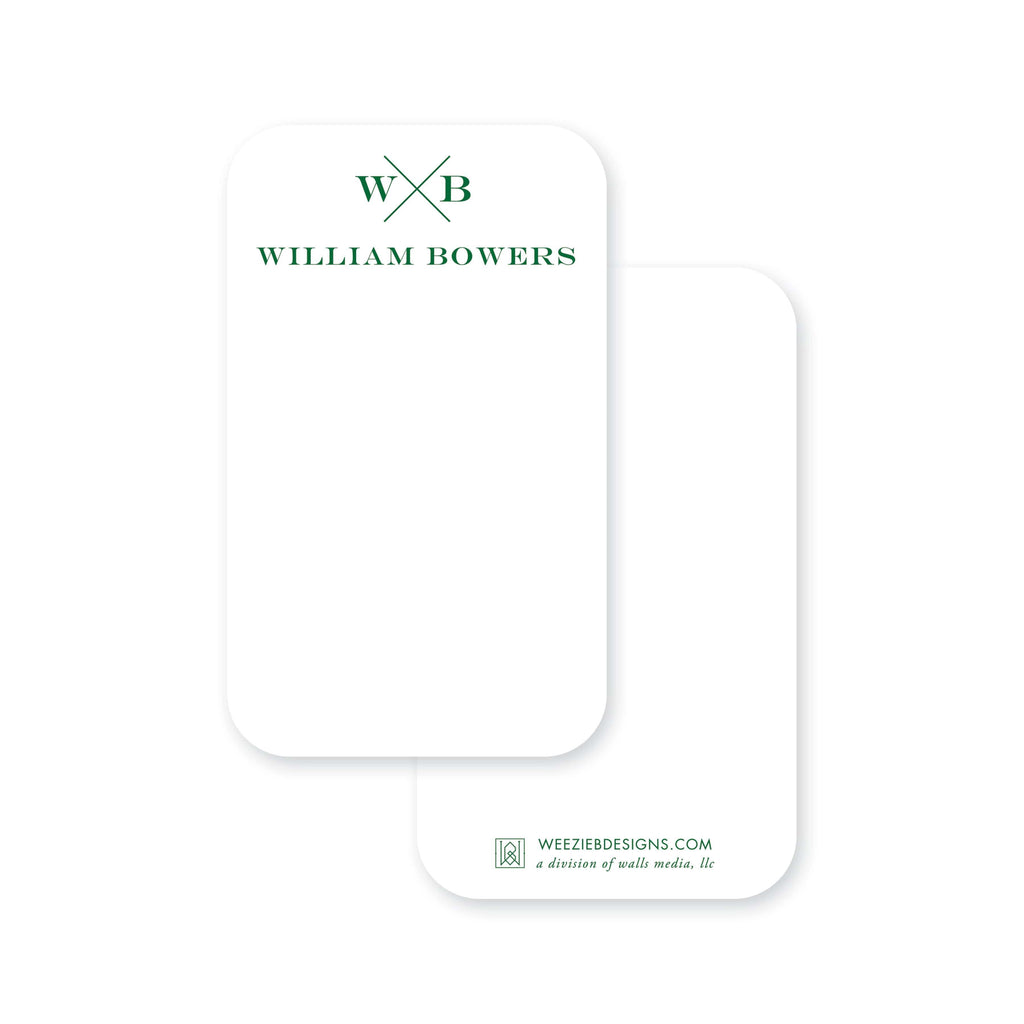 Weezie B. Designs | Block X With Name and Monogram Pocket Note Cards