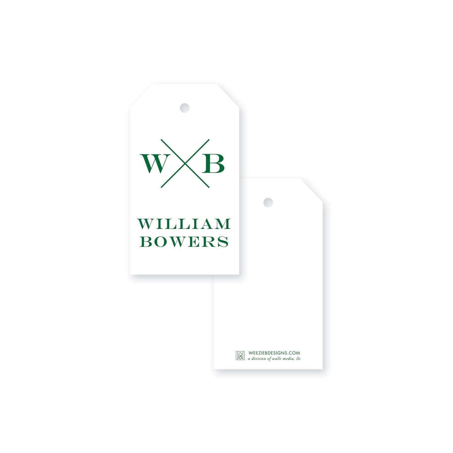 Weezie B. Designs Block X With Name and Monogram Gift Tag