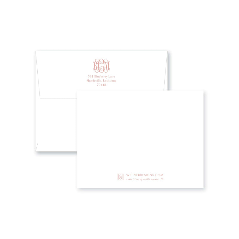 Weezie B. Designs | Fancy Border Monogram Flat Note Card