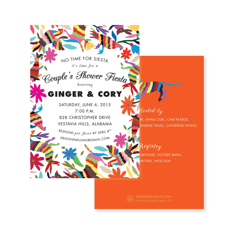 Weezie B. Designs | Otomi Fiesta Engagement Party Invitation