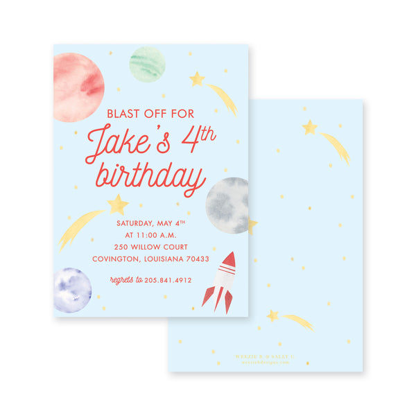 Weezie B. Designs | Outer Space Birthday Invitation