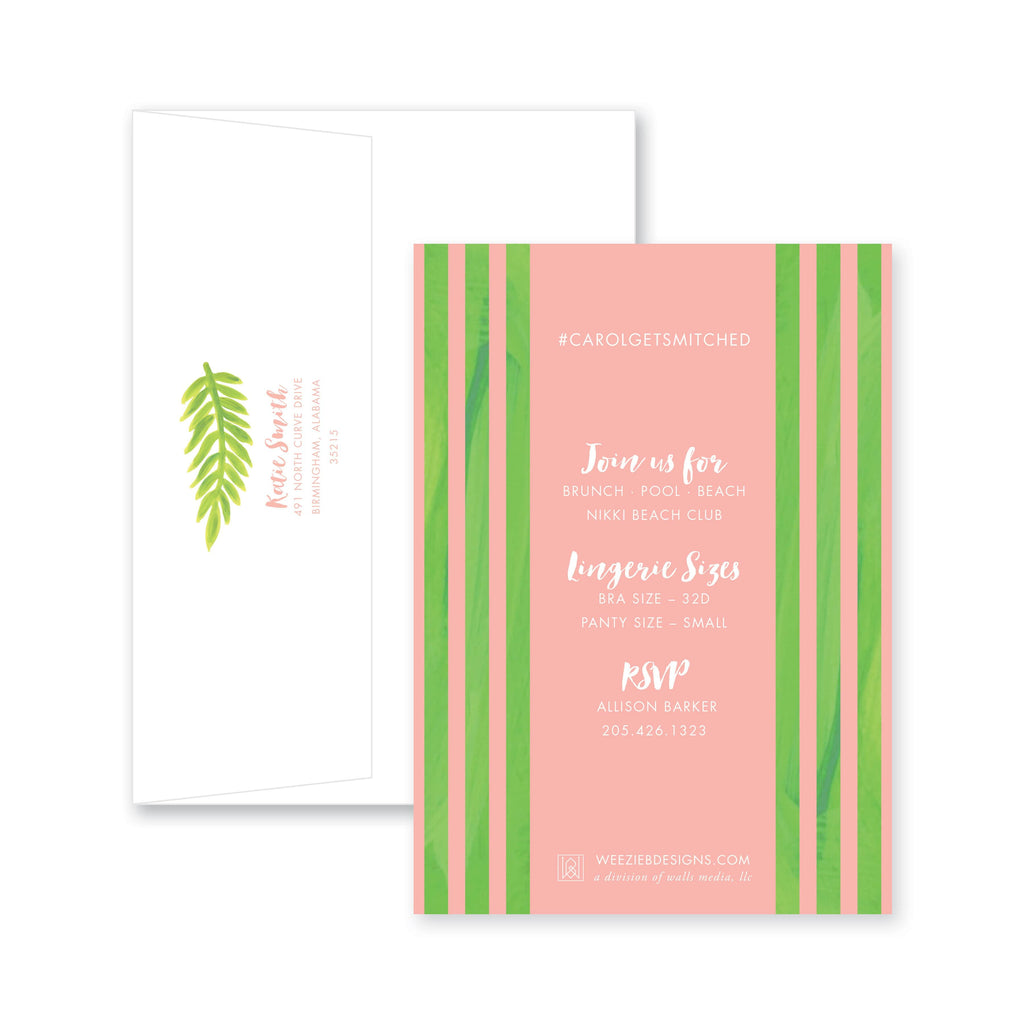 Weezie B. Designs | Watercolor Palm Bachelorette Invitation