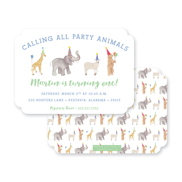 Weezie B. Designs | Kids Birthday Invitation | Party Animals