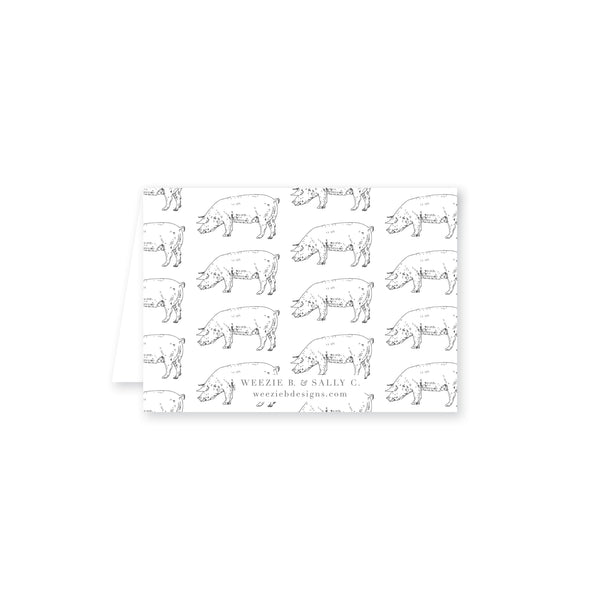 "Pig Pattern ""I Do"" BBQ Food Labels"