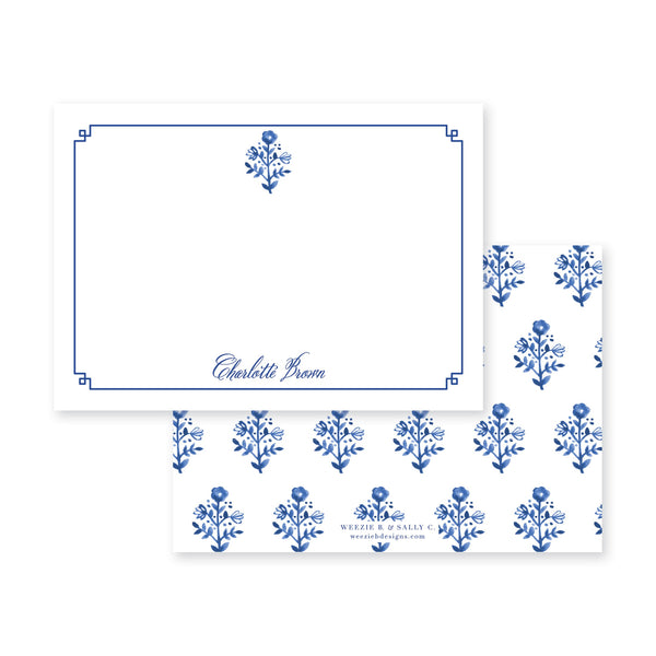 Delft Flowers Flat Note Card