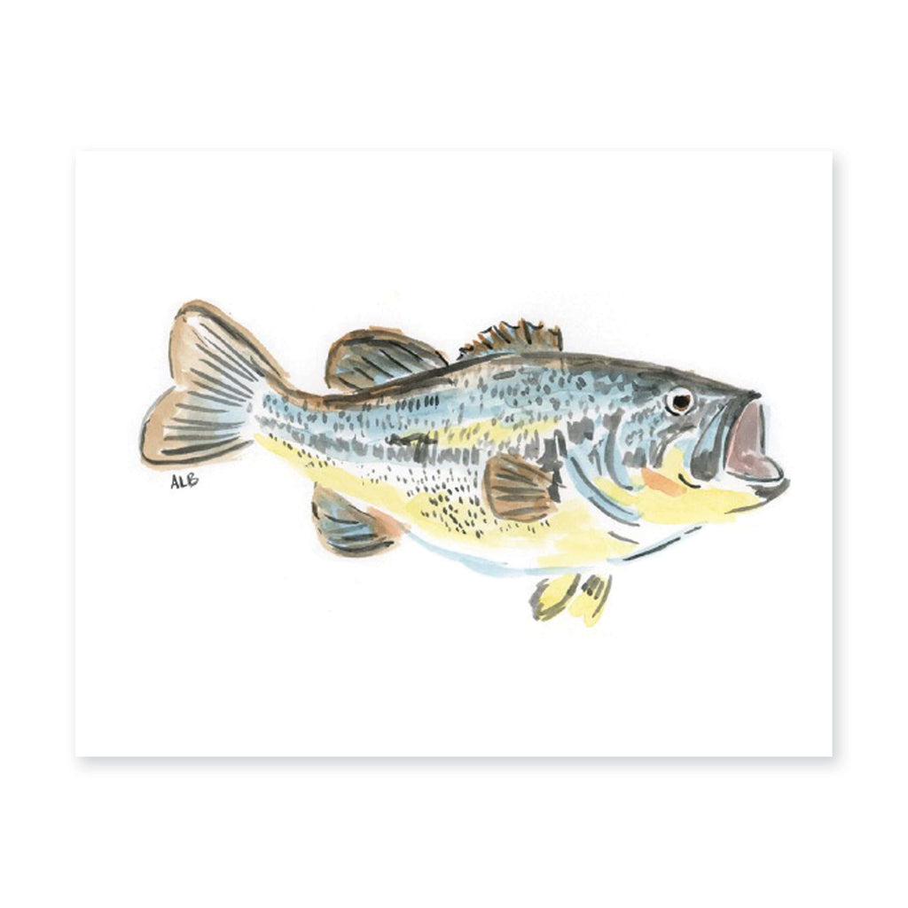 Weezie B. Designs | Watercolor Large Mouth Bass Art Print