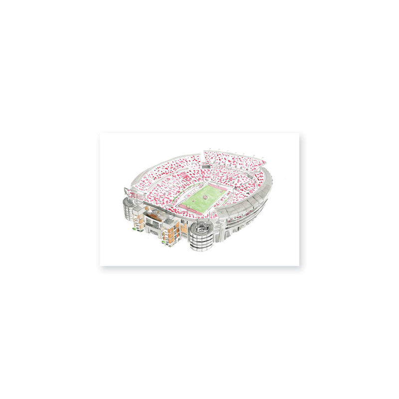 "Weezie B. Designs | Bryant Denny Stadium Watercolor Art Print 6"" x 4"""