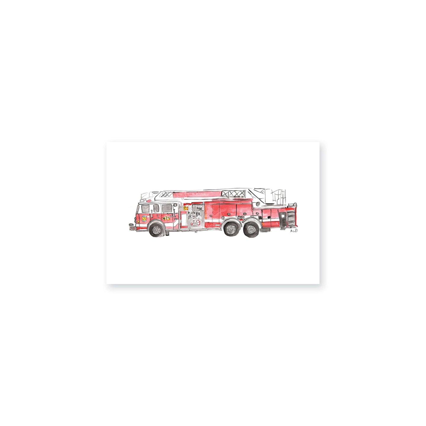 Weezie B. Designs | Fire Truck Watercolor Art Print