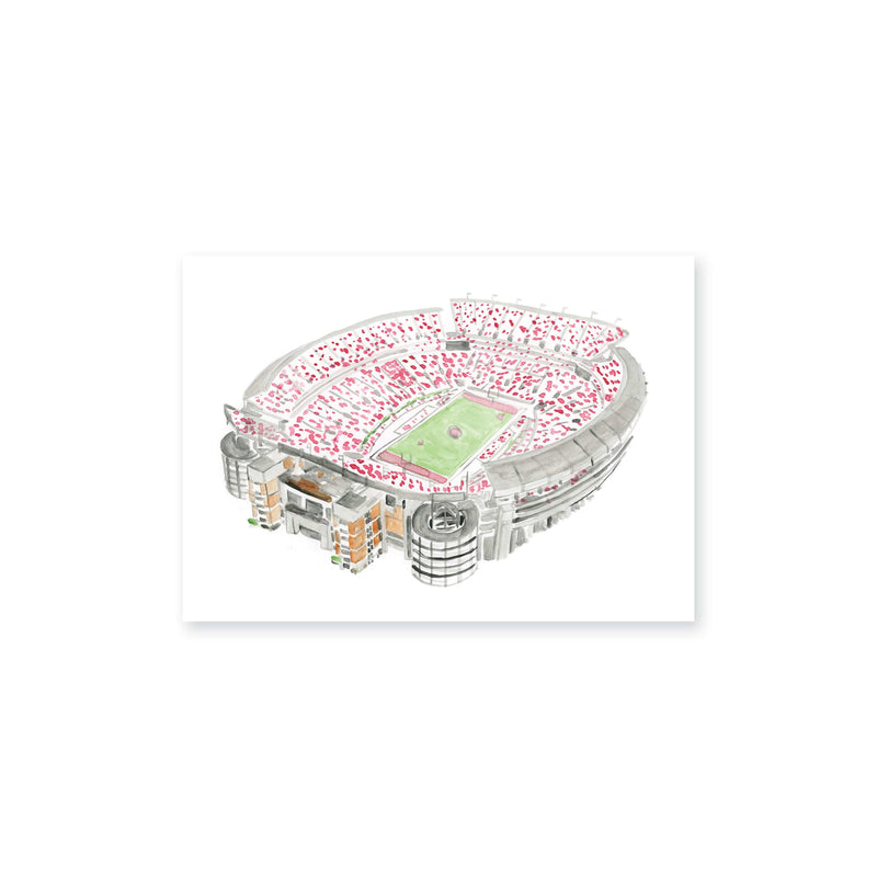 "Weezie B. Designs | Bryant Denny Stadium Watercolor Art Print 7"" x 5"""