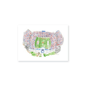 "Weezie B. Designs | Jordan Hare Stadium Watercolor Art Print 7"" x 5"""