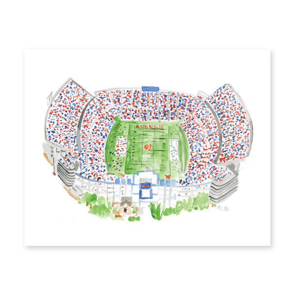 Weezie B. Designs | Jordan Hare Stadium Watercolor Art Print