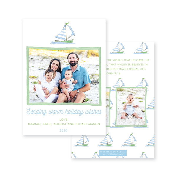 Sailing Warm Wishes Christmas Card