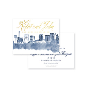Weezie B. Designs | Birmingham Skyline in Watercolor Save-the-Date