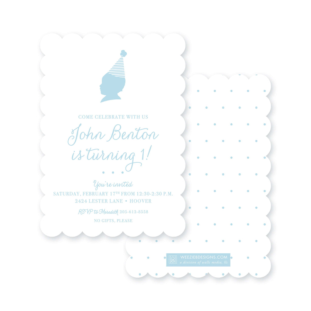 Weezie B. Designs | Silhouette in a Party Hat First Birthday Invitation