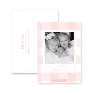 Weezie B. Designs | Solid Hues With Gingham Birth Announcement